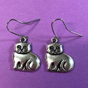 Cat Silver Tone Pierced Earrings